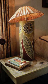 A hand-painted lamp at Vanessa Bell's home, Charleston.