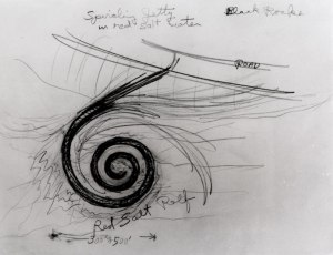 "Robert Smithson's drawings for his ""Spiral Jetty."""
