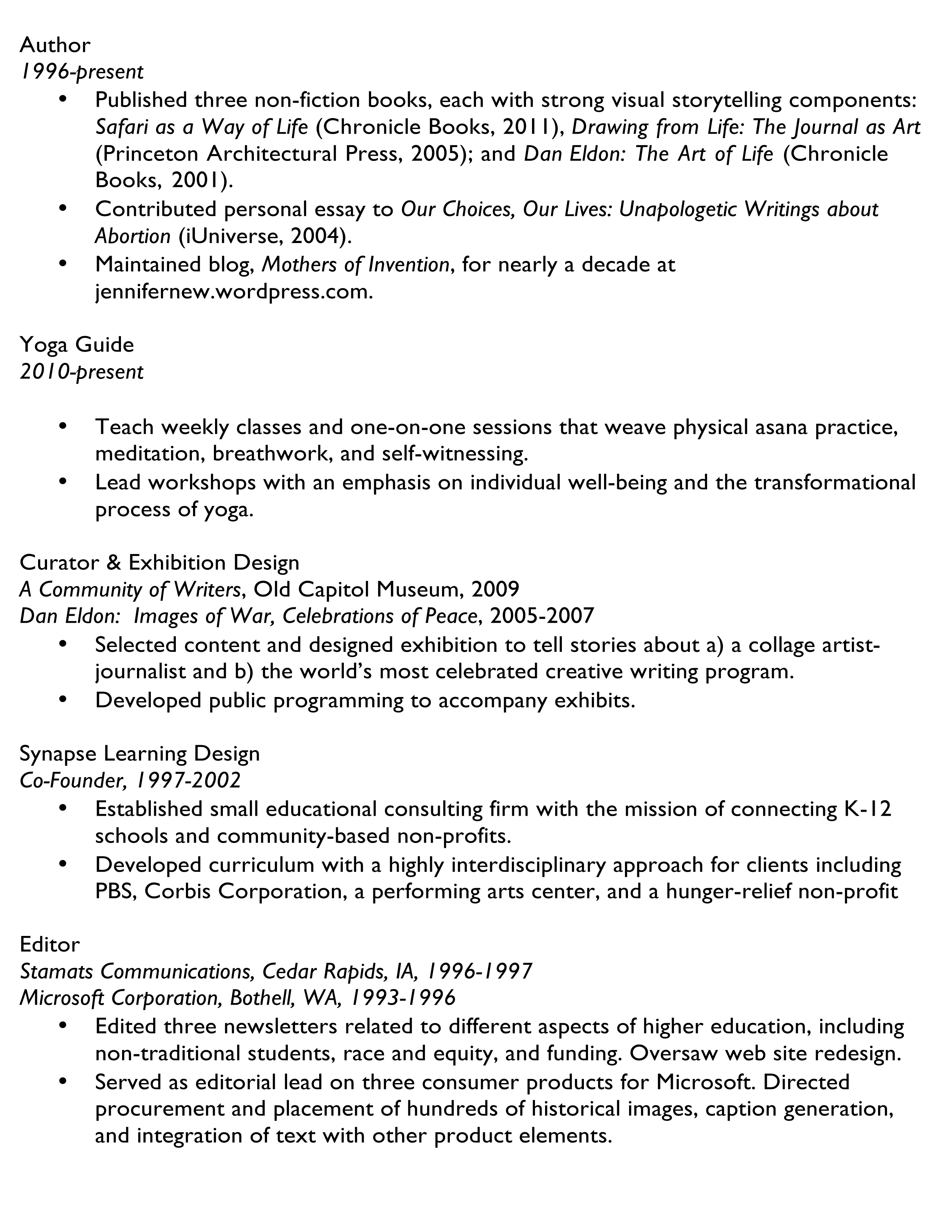 microsoft word jennifer new_resume2016docx - Lead Author Resume